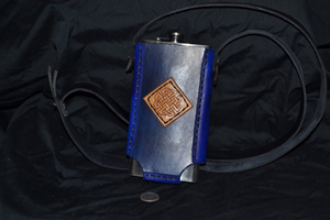 tall blue 12oz flask holder
